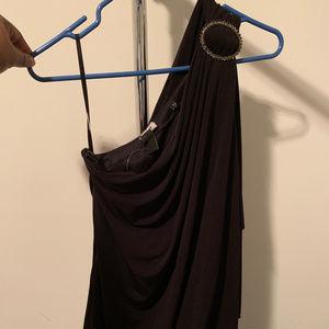 WHITE HOUSE BLACK MARKET -one shoulder black dress